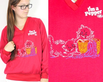 SALE Vintage Retro Red Dr. Pepper Kitty Cat Sweatshirt