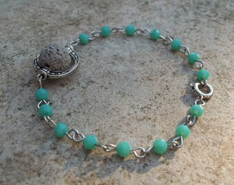 Turquoise Beaded Diffuser Bracelet Lava Stone Aromatherapy