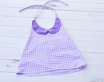 Girls Halter Top - Girls Purple Top - Summer Top - Girls Tank Top - Gingham Shirt - Halter Tank Top - Gingham Top - Back to School Top