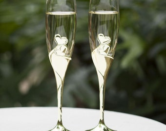 Personalized Gold Champagne Flutes, Engraved Wedding Champagne Flutes, Wedding Toasting Flutes, Heart Toasting Glasses, Champagne Glasses