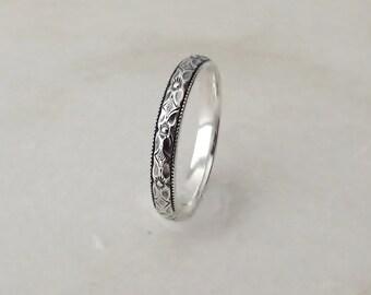 Sterling Silver Pattern Ring, Flower RIng, Diamond Pattern Ring,