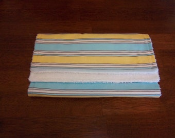 Zoo Babies Stripes in Blue & Yellow Burp Cloth