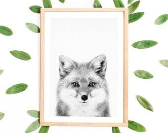 Fox Print, Woodland Animal Prints, Nursery Fox Print, Scandinavian, Fox Poster, Photography, Woodland Nursery Print, Kids Room Fox, Fox Art