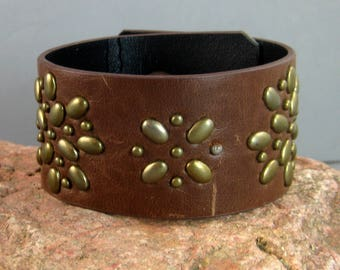 Mens Cuff with brass accents, Upcycled Belt Bracelet, Southwestern Style, Native American, Leather Bracelet,  leather belt bracelet