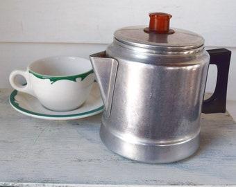 Vintage Percolator Metal Stovetop Coffee Maker Aluminum