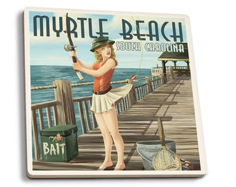 Myrtle Beach, SC - Pinup Girl Fishing - LP Artwork (Set of 4 Ceramic Coasters)