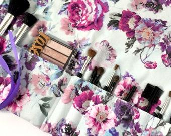 Makeup Brush Roll - Makeup Brush Holder Travel - Makeup Brush Organizer - Brush Roll Up - Makeup Roll Case - Floral Makeup Case