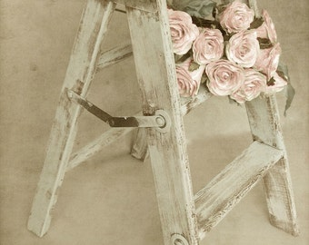 """French Country Photography, Country Kitchen Art, Rustic Old Step Stool, Pink Roses, Romantic Farmhouse Art, Neutral Print-""""Forget Me Not"""""""