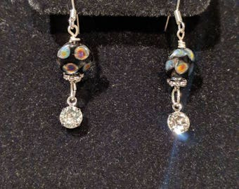 Swarovski and black earrings