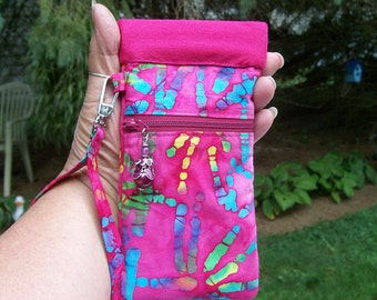 Pink CELL PHONE POUCH Tie Dyed Red Pink Blue Snap Tite Closure Zipper Pocket Detachable Wrist Strap Iphone 6 6S 6sPlus Wristlet
