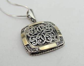 925 Square Filigree Pendant, Israel Smart Modern Art 9k Yellow Gold  925 Silver White Cz pendant, Birthday Gift, Wedding pendant (ms 1262p)