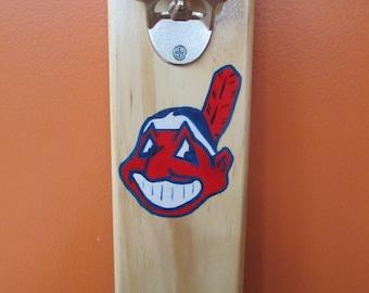 Cleveland Indians Wooden Bottle opener with magnetic cap catcher bottle cap catching opener
