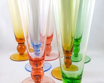 Gorgeous Colored Pilsner Beer Glass Set of 7