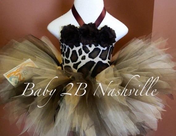 Baby  Brown GiraffeTutu Outfit up to 24M With Leggings