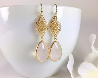 Rose Quartz Earrings Gold Rose Quartz Dangle Drop Earrings Filigree Earrings Gemstone Pink Earrings Rose Quartz Jewelry Bridesmaid Gift