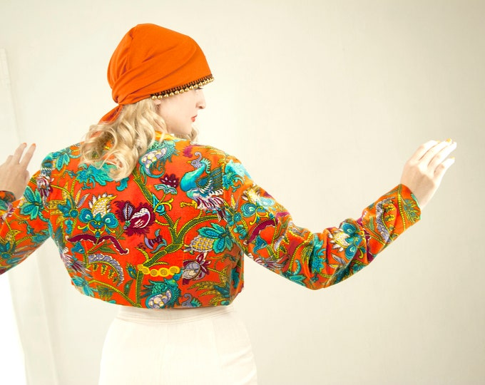 Vintage colorful crop jacket, orange turquoise velveteen bolero short cropped peacock phoenix bird novelty print paisley, 1970s boho retro S