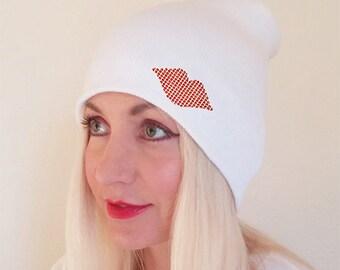 White Kiss Beannie Hat, Red Lips Beannie, Kiss Hat, Kiss Beanie, Womens Beanie, Winter Beanie, Beannie, White Hat with Lips, White Beanie