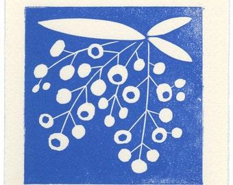 Strawberry Tree Flowers - linoleum block print