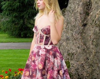 Strapless bustier style dress with full circle skirt