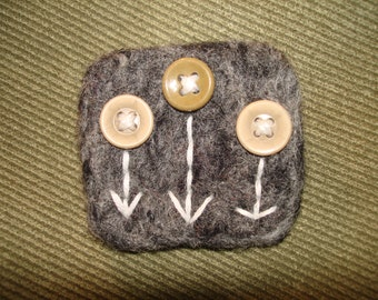 Needle Felted Brooch Pin with Vintage Buttons