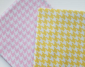 WV Pre Cut Fat Quarter Houndstooth-Carnation Pink or Sunshine Yellow Cotton Fabric