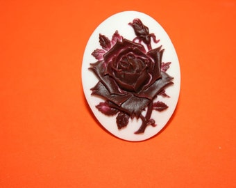 Large Maroon Rose Cameo Ring