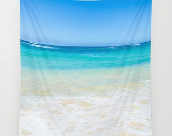 Beach wall tapestry, Vertical wall tapestry, Ocean Wall Tapestry, sea, wall hanging decor, Hawaii, grommets, coastal style, coastal decor