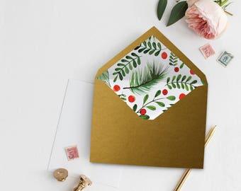 Envelope liner printable, Christmas envelope liner, Berries envelope liner printable, Envelope liner template printable,Christmas watercolor