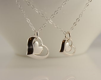 Mother daughter necklace. Mother daughter open heart necklace set, Mother and Daughter Heart necklace set
