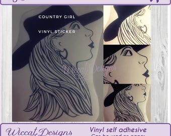 Woman art, Country woman,  decal, Woman decal, vinyl decal,  Vinyl sticker, woman Face, cover sticker, Mirror decal, wall decor, sticker