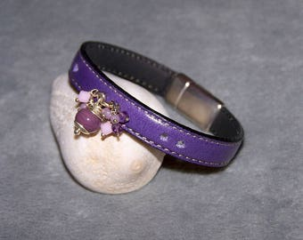 """Violet"" bracelet in leather, glass and semi-precious stone - zinc alloy clasp"