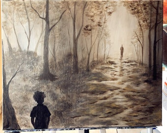 Waiting child in forest acrylic painting on canvas