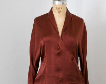 Xiao Studio True Burgundy Silk Blouse S