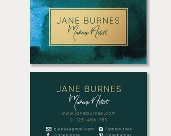 Business card design business cards business cards custom watercolor and gold business card emerald watercolor and gold business cardvirid watercolor and reheart Gallery