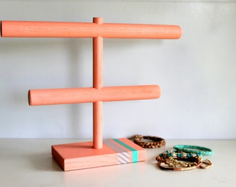 Coral with Grey Stripes & Teal Jewelry Organizer, Bracelet Headband Holder, Retail Stand Craft Show Display, Watch Rack, Anklet, Beach Pink
