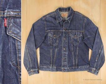 LEVIS Big E Vintage Jean Trucker Jacket 1968-71 Blue Denim Made in USA M Medium 60s 70s Type III Americana Workwear