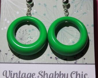 Handmade repro green loop earrings