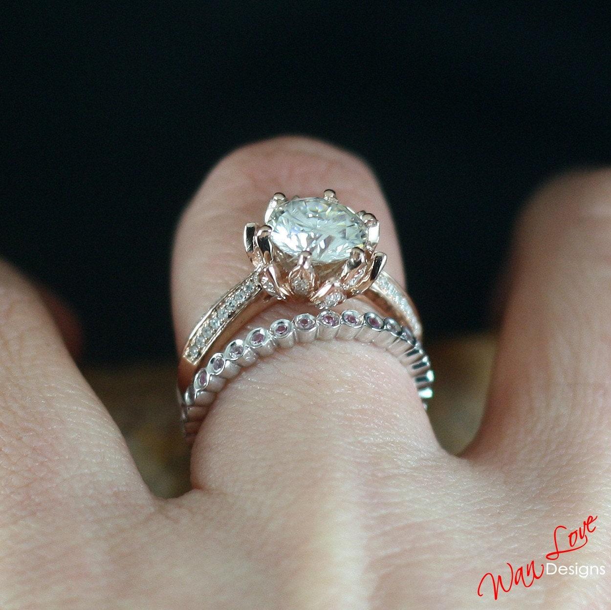 White pink sapphire diamond lotus flower engagement ring set zoom izmirmasajfo Choice Image