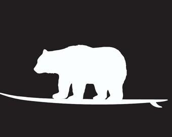 Surf Bear Decal