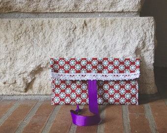 Red polka dot pocket, lace pouch