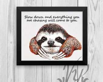 Sloth print poster cute Animal lover Rain Forest Wall art decor kids room study sleep Decorations Gifts Rainforest student college Graduate