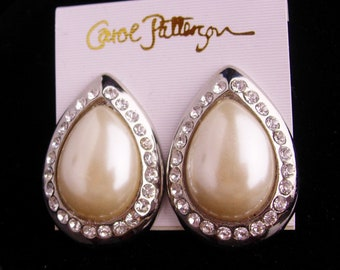 LARGE earrings - Carol Patterson - huge pearl rhinestone clip ons - Women's wedding jewelry - classic  ladies costume jewelry