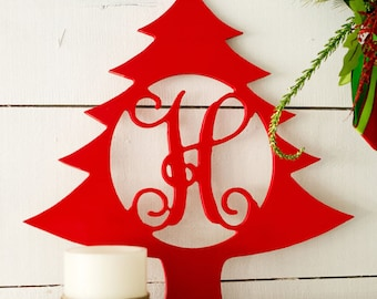 Christmas Tree Wood Monogram, Unfinished, Ready To Paint