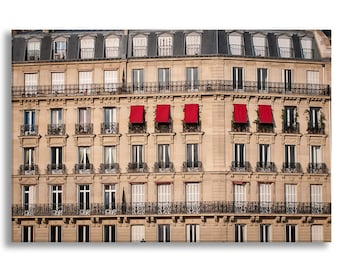 Paris Photography on Canvas - Red Awnings, Gallery Wrapped Canvas, Large Wall Art, Neutral Architectural Urban Home Decor