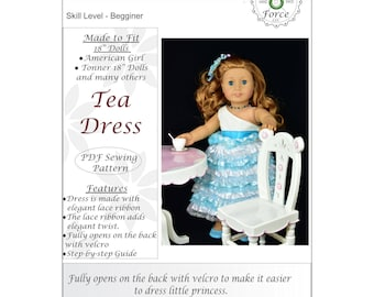 18 inch doll clothes pattern, Tea Dress, for dolls such as American Girl Doll, PDF Sewing Pattern, Doll clothes
