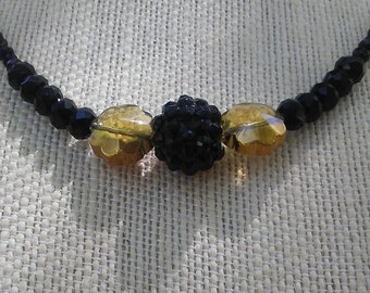 Black and Yellow Faceted Crystal Beaded Necklace, Mother's Day Gift, Statement Dramatic Funky Boho Necklace
