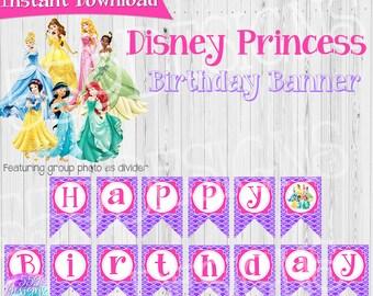 Disney Princess Birthday Banner - Cinderella, Ariel, Belle, Snow White, Tiana, Jasmine, Aurora - Instant Download Princess Party