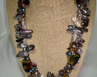 1996 Art Show Necklace of Faux Biwa and Freshwater Like Pearls with Glass Accent Beads.