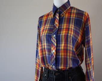 Vintage 70s Yellow, Red, and Navy Blue Plaid Button Down Collared Shirt by Shirt Knits Ltd.