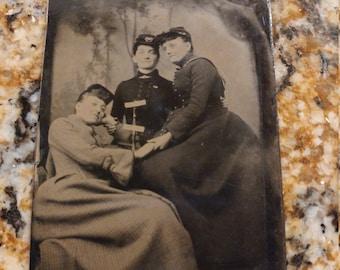 Rare:  3 Women in Civil War Caps Antique Tintype Photograph